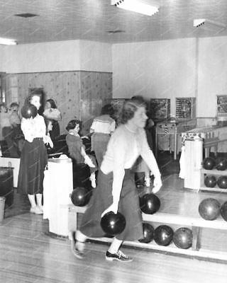 "Bowling Alley Woodrail Pinbal Machines On Location 8"" -10""  B&W Photo Reprint"