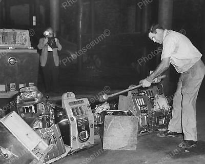 """Destroying Slots Out On The Street   8"""" - 10"""" B&W Photo Reprint"""