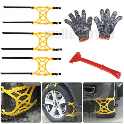 3Pcs Universal TPU Car Truck Tire Tyre Winter Snow Anti-skid Chain Emergency Kit