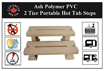 Ash Polymer PVC 2 Tier Portable Hot Tub Steps for Spa, Caravan, Camper