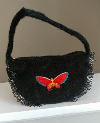 Little Girl Decorative Black Fuzzy Purse with Butterfly Patch