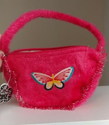 Little Girl Decorative Pink Fuzzy Purse with Butterfly Patch