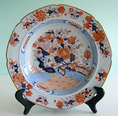 Antique Masons Staffordshire Ironstone Japan Fence Pattern Soup Bowl Fine Cond.