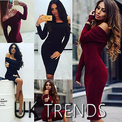 UK Womens Bodycon Ribbed Bardot Off Shoulder Midi Dress Ladies Party Size 6-14