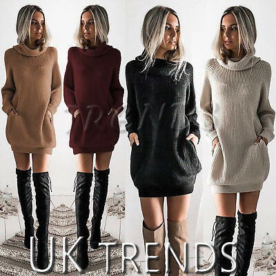 UK Womens Chunky Knitted Dress Roll Neck Jumper Dress Ladies Mini Size 6-14