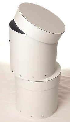 2x White decorative round hat box for flowers Home Decor Gift M