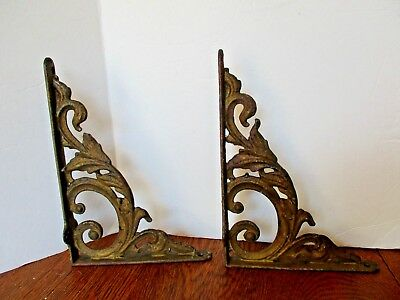 "Architectural Garden 7"" x 10"" Victorian Scroll Ornate Cast Iron Shelf Brackets"