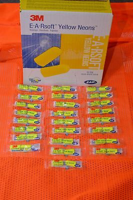 3M E-A-Rsoft EAR PLUGS 25 Pack Noise Reduction 33dB Neon Yellow Regular EARSOFT