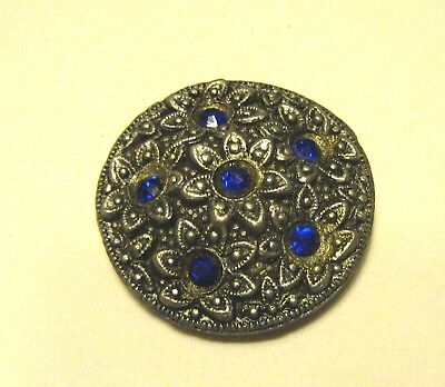 Vintage Processed Wood Button Silver Color with Blue Gem Stones