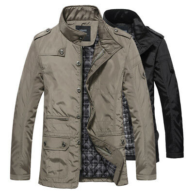Fashion Mens Jacket Warm Winter Casual Coat Overcoat Outwear Black Military New