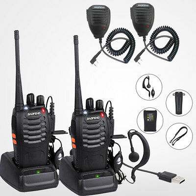 2x BaoFeng BF-888S Walkie Talkie UHF 2 Way Ham Radio Long Range + Handheld Mic