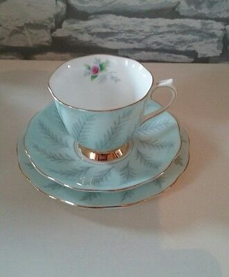 Rare Royal Albert Rosamund English Bone China Trio Tea Cup Saucer Plate