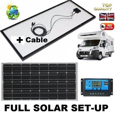 Easy Fit 100W Solar Panel + cable for 12V Boat Camper or SELF BUILD MOTORHOME
