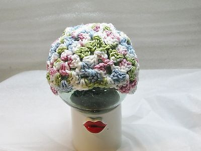 LAST CHANCE 3-6 Mo Baby Crocheted Granny Square Hat - Blue Green Rose & White