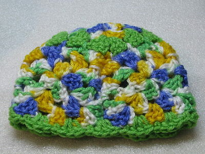 LAST CHANCE 3-6  Mo Happy Scrappy Granny Square Baby Green Yellow Blue White
