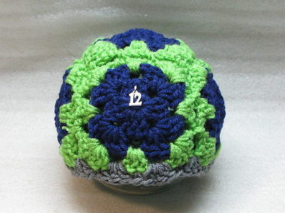 LAST CHANCE 6-12  Mo Granny Square Baby Hat Seahawks Blue Gray Trim- Silver 12