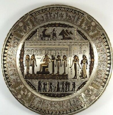 """Antique Egyptain Brass Wall Hanging Tray plate 11.5"""" 16 Oz"""