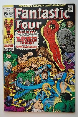 FANTASTIC FOUR #100 VF+ (1970 Marvel) Jack Kirby/Anniversary issue