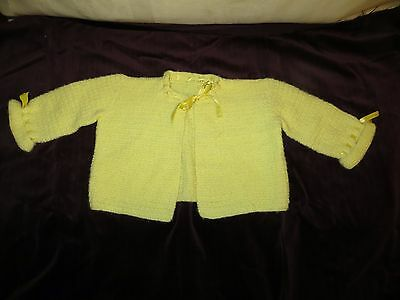 Vintage Yellow Knitted Baby Sweater with Satin Ribbon Ties - 1960's