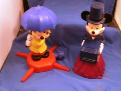 Vintage Mickey Mouse Sprinkler and Mickey Magician/Card Dealer