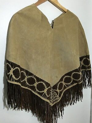 Vintage Tan Brown Leather Fringe Poncho Indian Native Style Country Western