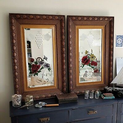Pair large Victorian mirrors. Wooden mirrors. antique mirrors. 2 vintage mirrors