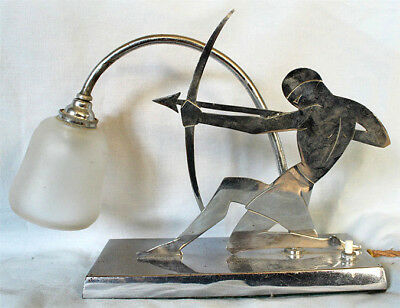 Stunning ART DECO Chrome Metal Lamp Light Crouching Man Shooting Arrow YW PARIS