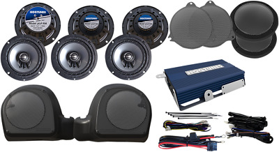 Hogtunes Amp & 6 Speaker Kit For 2014-2017 Harley Twin Cooled Models Limited-Rm