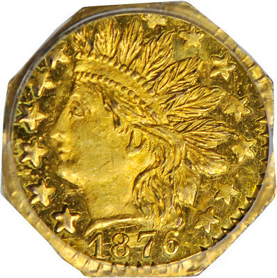 1876 25c California Gold Small Denomination Coin PCGS MS 64 BG-799D Octagonal