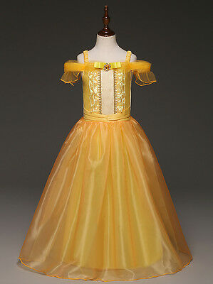 Gorgeous Belle Costume Gown Dress Princess Girl Beauty and The Beast O32