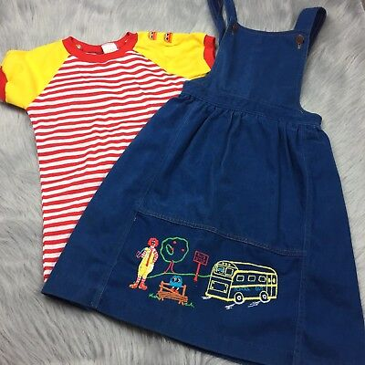 Vintage 1978 Mcdonalds Mcdonaldland Fashions Jumper Dress Shirt Girls Set