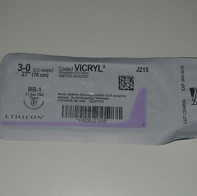 """3-0 Vycril synthetic absorbable suture 27""""/70cm violet monofilaments(1kit )"""