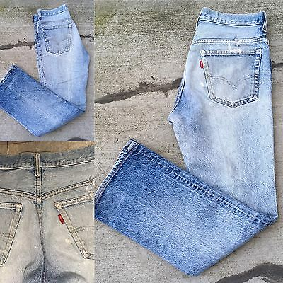 "VTG Levi's Jeans Single Digit Stamp On Button 2 Naturally Distressed 32"" Waist"