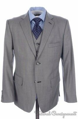 INDOCHINO Gray Solid Wool Jacket Vest Pants 3 PIECE SUIT Mens - BESPOKE 40 S