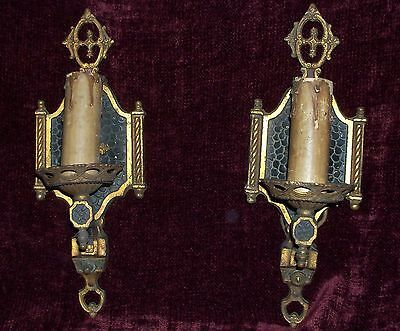 Pair of 1920's Art Deco Wall Sconces Antique Light Fixtures Vintage Brass Tudor