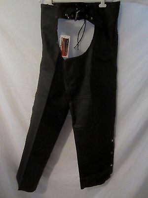 Thunder Road Leather Black Motorcycle Street Gear Chaps - Men's 2XL - AA86 - NWT