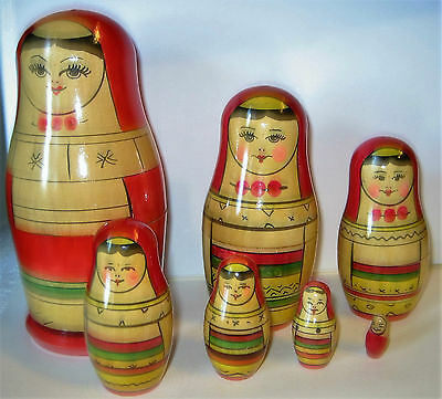 7 Piece Russian Nesting Doll set / MATRYOSHKA - Excellent -- FREE  SHIPPING