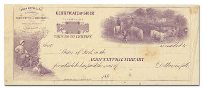 Agricultural Library Stock Certificate (Concord, Massachusetts, 1860's)
