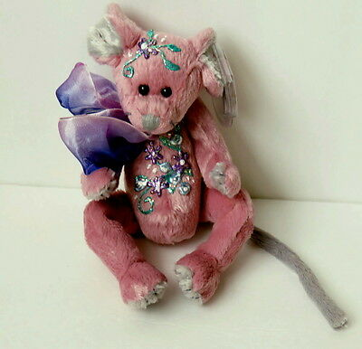 "Ty  8"" Plush Ty Mouse Cromwell Handpainted w/ Glittered Flowers on Chest & Head"