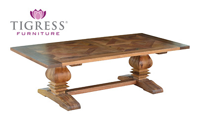 """""""Kent"""" Solid Mango Wood Parquetry Top 140cm Pedestal Base Coffee Table"""