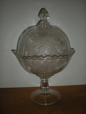 Rose Compote Large Footed Glass with Dome Cover Antique