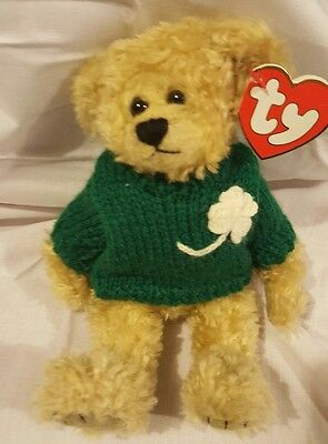 Vintage Ty 1993 Poseable Bear St Patty's Day Blarney Kiss Me I'm Irish Clover 9""