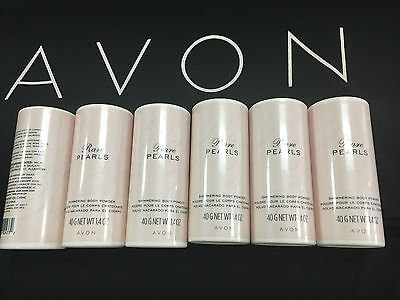 Lot of 6 Avon Rare Perals Shimmering Body Powder 1.4 oz tubes new discontinued