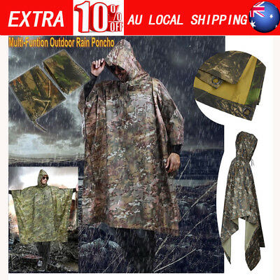 Camouflage Waterproof Army Hooded Ripstop Festival Rain Poncho Jacket Coat Hot