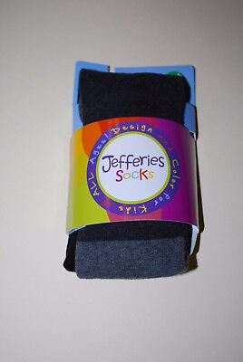 Jefferies Black and Gray Cotton Tights  in Size 4-6 Years