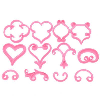 12pcs DIY Rose Heart Pastry Icing Mold Biscuit Cutting Fondant Cake Decorating