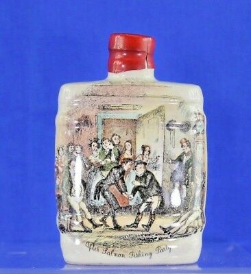 """Antique Transfer Ware Pottery Flask Mead Label """"after The Salmon Fishing Party"""""""