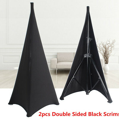 2pcs Black Tripod Speaker Stand Scrims Double Sided Stretch Spandex Lycra Cover