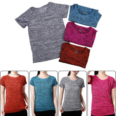 Women Breathable Workout Gym Sports Shirt Yoga Top Fitness Running T-shirt Tops
