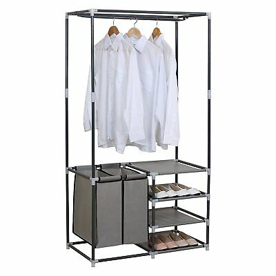 Portable Closet Organizer Storage Clothes Hanger Garment Shelf Rack Double  Rod